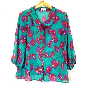 Vintage ModCloth Green and Floral Blouse L